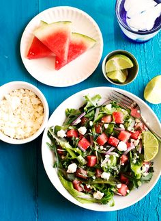 This salad is perfect to bring to any summer gathering. Watermelon-Feta-Mixed-Greens-Salad by @savorysweetlife