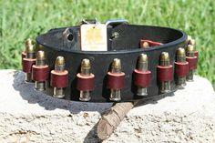 "Custom Bullet Leather Dog Collars - 2"" wide - LOCKED n' LOADED Bullet Big Dog Leather Collar"