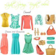 """Light spring bright colors"" by sabira-amira ❤ liked on Polyvore"