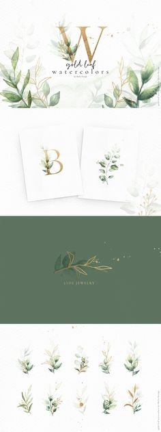 Gold leaf watercolor alphabet art by Skyla Design on Creativ.- Gold leaf watercolor alphabet art by Skyla Design on Creative Market Watercolor Clipart, Gold Watercolor, Watercolor Logo, Watercolor Leaves, Watercolor Illustration, Graphic Illustration, Art Illustrations, Watercolor Design, Art Clipart