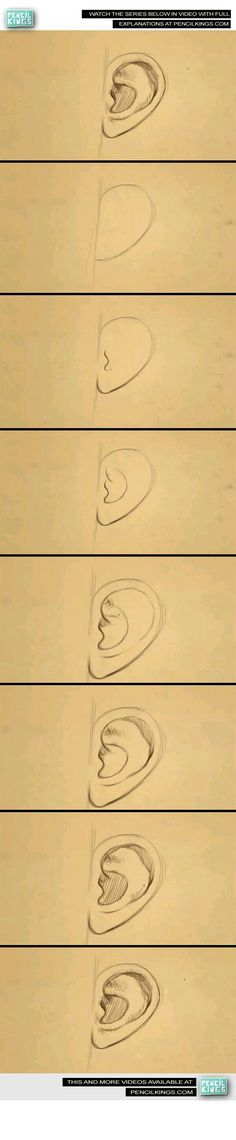 How to draw an ear step by step