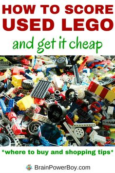 How to Score Used LEGO and Get it Cheap has all the tips and money saving ideas you need for getting more bricks without breaking the bank. Click image to learn how to save at each store/venue and find the bricks and elements your LEGO fan needs. Lego Craft, Lego Math, Lego Books, Used Legos, Lego Activities, Lego For Kids, Lego Storage, Lego Design, Lego Projects