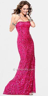 Scala Sequin Strapless Prom Dresses
