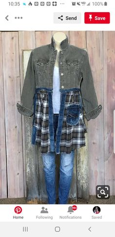 RESERVED FOR DIAN: Sage Weekend Jacket - Convo me to inquire about designing a custom art coat for you. Source by - Umgestaltete Shirts, Cut Up Shirts, Tie Dye Shirts, Party Shirts, Shirt Refashion, T Shirt Diy, Sewing Clothes, Diy Clothes, Refashioned Clothes
