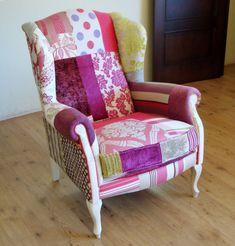Muebles Portobellostreet.es:  Orejero Patchwork Violeta - Butacas Vintage - Muebles Vintage