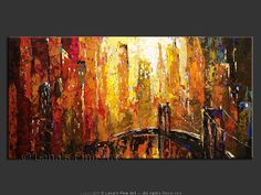 BROOKLYN NIGHTS - Cityscape Art, Bridges, Impressionism