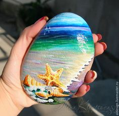 The painting on stone Black Sea after a storm, a souvenir. Stone Art Painting, Seashell Painting, Pebble Painting, Pebble Art, Arte Coral, Coral Art, Rock Painting Patterns, Rock Painting Designs, Stone Crafts