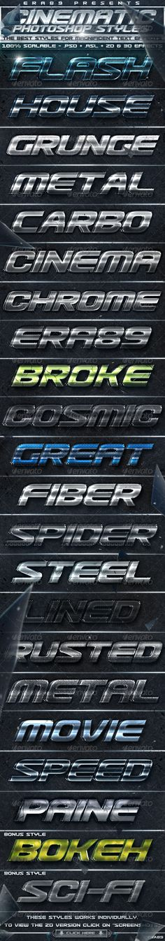 """Cinematica Text Effects - PS Styles  #GraphicRiver         CINEMATIC TEXT EFFECTS – PHOTOSHOP STYLES  The Best Styles for Magnificent Text Effects Works great for texts and icons!    .Asl files   .Psd files   Detailed Read Me   Previews Images; Thumbnail     INSTRUCTIONS : For apply the styles, just select the text or layer to use and make click one of the styles you have downloaded. These styles are 100% Scalable and they works individually, just using the """"Scale Effect Command"""".  …"""