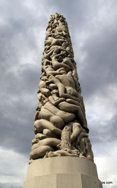 Climbing to the top. Vigeland Park, Oslo, Norway.