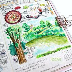 天空很美但水有點濁😍😍 #Hobonichi #Planner #hobo #ほぼ日手帳 #ほぼ日手帳weeks #絵日記 #日記 #ほぼ日… Hobonichi Techo, Art Diary, Day Planners, Travelers Notebook, Journaling, Art Drawings, Doodles, Bullet Journal, Photo And Video