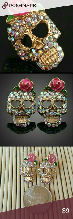 Jeweled Sugar Skull Earrings Keep the ghouls away with these jeweled Sugar Skull Earrings! How fabulous are these? Super chic must have, great as a gift too!   Approx 2cm x 1.5cm Stud backing  Please feel free to ask questions! Thank you for shopping my closet! Happy Poshing! nikkimadonna Jewelry Earrings