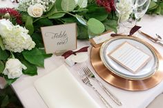 Metallic, marsala & white table setting Novelty Hill-Januik Winery during Weddings in Woodinville 2015 |  Event Planner: Taylor'd Events Group | Amelia Soper Photography | Florals: Laurel's Floral Decor | Paper Goods: Chic Ink | Rentals: Pedersen's Rentals