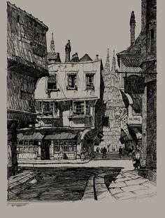 20160617_Black&White Architecture_Student L2_컨펌완료 : 네이버 카페 Black And White Art Drawing, Black White Art, Architecture Drawings, Urban Architecture, Traditional Artwork, Illustrations And Posters, Beautiful Paintings, Ink Art, Design Art