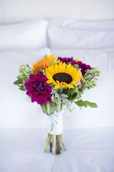 Magenta Dahlia, Sunflower and Gerbera Daisy Bridal Bouquet