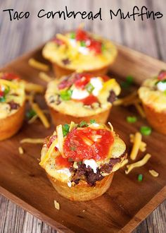 Taco Cornbread Muffins Recipe - cornbread muffins stuffed with cheese, taco meat and salsa. Top with your favorite taco toppings! Ready in under 20 minutes. LOVE quick Mexican recipes! The kids gobbled these up (adults too!)!!