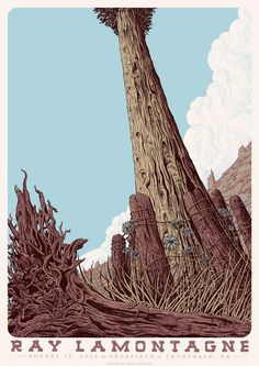 Ray LaMontagne Portland gig poster August 12, 2014.  Poster by @epicproblems.