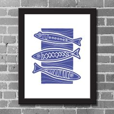 Lino Art Print Giclee Print 3 Fish Stack Wall Decor by ArtsHollow, $24.00