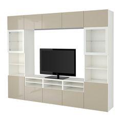 BESTÅ Combinaison rangt TV/vitrines - blanc/Selsviken brillant/beige verre transparent, glissière tiroir, ouv par pression - IKEA
