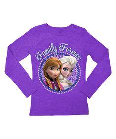 Frozen Anna & Elsa Purple 'Family Forever' Tee - Toddler & Girls by Frozen #zulily #zulilyfinds