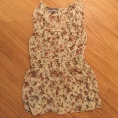 Floral sheer tank Dusty rose floral pattern, cinched waist, ruffle detail over shoulders, no rips or stains Tops Tank Tops