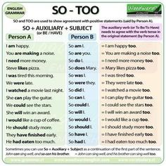SO - TOO. Woodward English provides a detailed explanation of this topic. English Grammar Rules, Learn English Grammar, English Writing Skills, Grammar And Vocabulary, Grammar Lessons, English Vocabulary Words, English Language Learning, English Phrases, Learn English Words