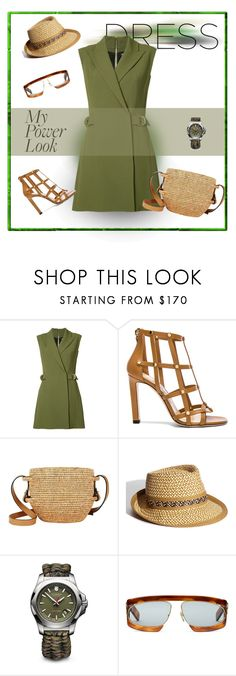 """Green Delight"" by michelletheaflack ❤ liked on Polyvore featuring Balmain, Jimmy Choo, Khokho, Eric Javits, Victorinox Swiss Army, Gucci, polyvorecontests, styleinsider and MyPowerLook"