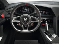 VW Design Vision GTI Concept - Interior 2013 Black sport grey 3 steering Wheel dashboard tablier modern interior car aggressive edge straight volkswagen