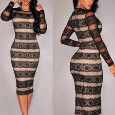Black Patchwork Apricot Lace Round Neck Midi Dress - MalangFashion