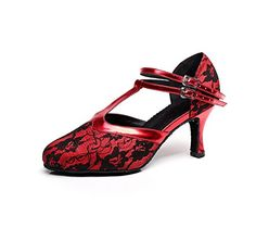 Minitoo TQJ3001 Womens Tstrap Red Lace Tango Latin Ballroom Dance Shoes Evening Prom Pumps 55 M US *** Want additional info? Click on the image.