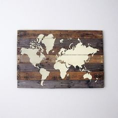 Decorate your home or office wall space with this diy painted world map on pallet wood.