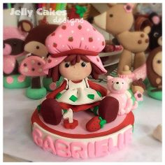 Strawberry Shortcake birthday cake topper ~handcrafted from polymer clay~
