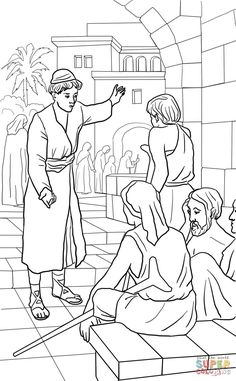 Parable of the Great Banquet coloring page from Jesus' parables category. Select from 29188 printable crafts of cartoons, nature, animals, Bible and many more.
