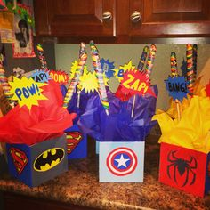Superhero party center pieces for my 5 year old son
