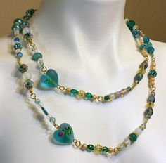 Long Aqua Necklace Extra Long 48 inches of by B4Jjewelrydesigns