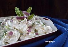 14 olcsó saláta tejfölös öntettel | NOSALTY Salad Dressing, Quinoa, Feta, Potato Salad, Side Dishes, Cabbage, Goodies, Potatoes, Mint