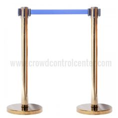 Get VIP Version in Gold Plated Stainless Steel Retractable Belt Stanchions from CrowdControlCenter, A well known Retractable Safety Barrier and Stanchions shop US.