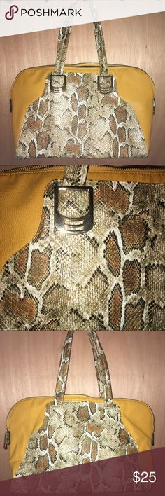 Mustard/snake skin purse!! Beautiful like new na Bags Satchels