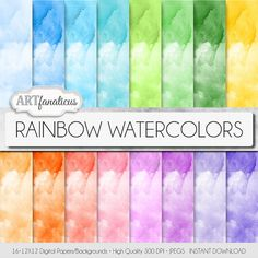 Watercolor digital paper RAINBOW WATERCOLOR 16 by Artfanaticus  My backgrounds, textures, digital paper and clip art can be used for just about any project. Add some additional artistic style to your photo albums, photography projects, photographs, scrapbooking, weddings, invitations, greeting cards, gift wrap, labels, stickers, tags, signs, business cards, websites, blogs, party decor, jewelry  more.  For more digital papers, please visit Artfanaticus at:  http://artfanaticus.etsy.com