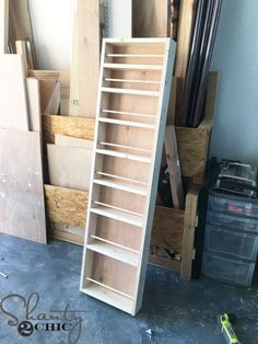 DIY Built-in Spice Rack - Free Plans and Tutorial - Shanty 2 Chic - Maximize your pantry storage by building a spice rack inside the walls! This is a simple DIY with t -