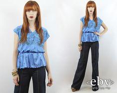 #Vintage #70s Blue Floral Draped #Peplum #Blouse Top, fits S/M/L by #shopEBV http://etsy.me/1DiB6vs @Etsy #fashion #style #pretty #spring