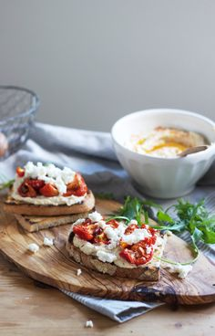 Three Ways with Hummus: Tomato feta toasts – via Cider with Rosie