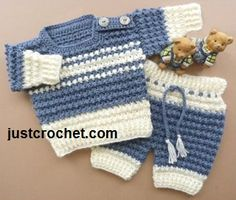 Libre del bebé crochet chicos patrón suéter y pantalones de EE.UU.