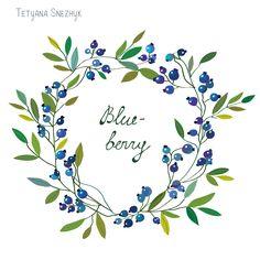 Blueberry wreath vector illustration - Tetyana Snezhyk