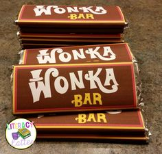 The Ultimate Classroom Party: Charlie and the Chocolate Factory (Plus printable Wonka Bar FREBBIE! Wonka Chocolate Factory, Charlie Chocolate Factory, Chocolate Bar Wrappers, Candy Bar Wrappers, Chocolates, Golden Birthday, Roald Dahl, Candyland, Mardi Gras