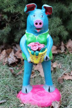 Pig with bouquet of Flowers - Children's Room?  Mexican folk art Ortega Family
