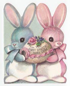 Vintage Greeting Card Baby's First Easter Die-Cut Bunny M. Cooper Marjorie