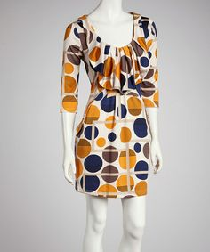 Take a look at this Orange & Brown Polka Dot Dress by Reborn Collection on #zulily today!