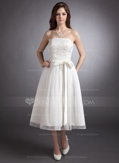 A-Line/Princess Strapless Tea-Length Lace Wedding Dress With Bow(s) (002020879)