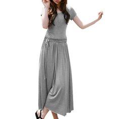 576351a8efda 8887 Scoop Neck Short Sleeve Elastic Waist Mid Calf Dress for Women Long  Sleeve Short Dress