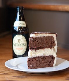 Guinness Stout Cake with Vanilla Bean Cheesecake, Whipped Vanilla Bean Frosting & Guinness Stout Ganache